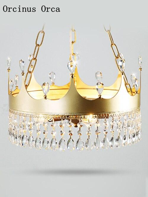 Nordic Crown Creative Crystal Chandelier Living Room Corridor Children's Bedroom American Country LED Golden Creative Chandelier