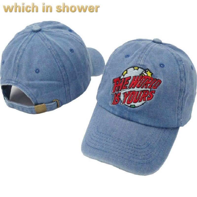 Qui dans la douche le monde est le vôtre père cap chapeau pour les femmes hommes haute qualité denim casquette de baseball hip hop réglable golf chapeau soleil chapeau