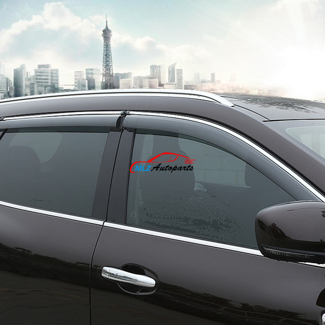 Car Door Window Sun Visors Rain Vent Deflector Guard Shield Shade With Stainless Steel Strip For & Car Door Window Sun Visors Rain Vent Deflector Guard Shield Shade ...