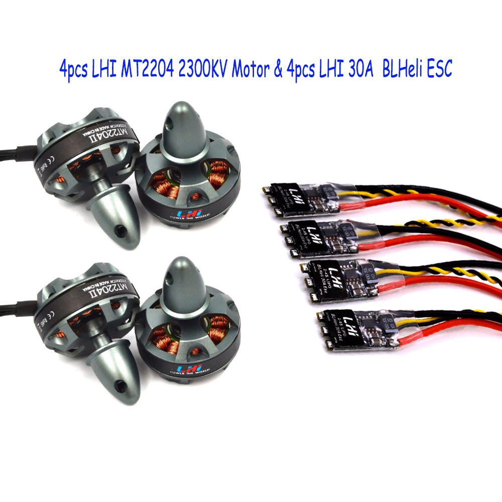 4x 2204 2300KV Brushelss Motor for rc 210 180 220 Quadcopter +4x LHI 30A ESC w/ Hobbywing XRotor micro BLHeli Firmware xrotor micro blheli 30a 2 4s esc electronic speed controller for hobbywing original rc helicopter accessories