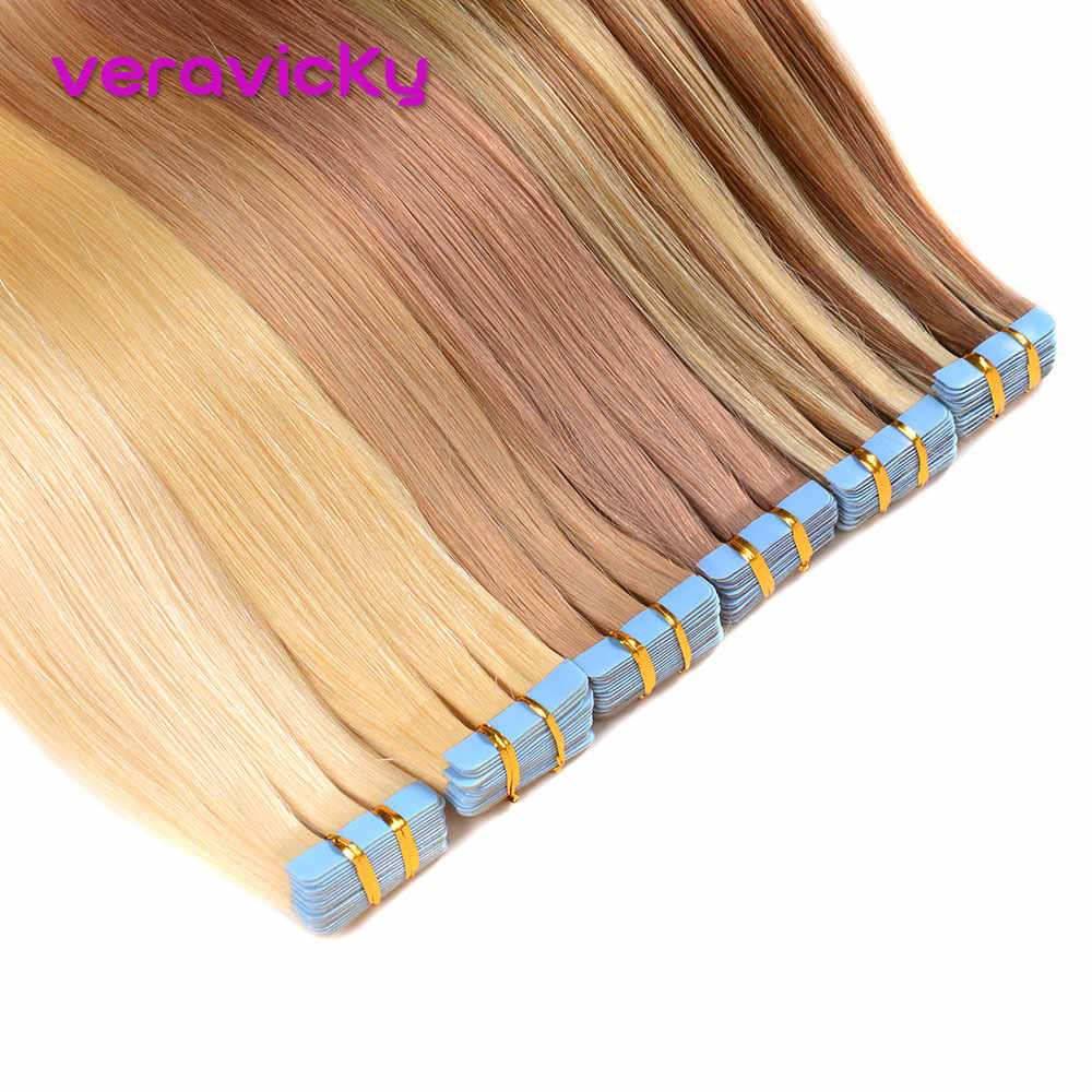 40Gto50G Tape in Remy Human Hair Extensions Real Cuticle Aligned Natural Hair Invisible Adhesive Blonde Hair Extensions Tape ins
