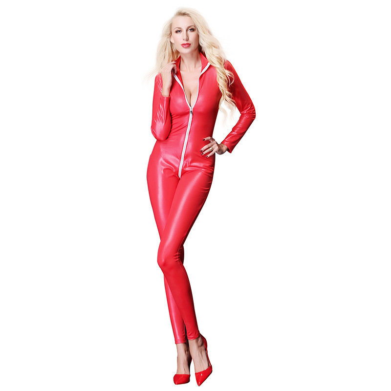 Buy Faux Leather Women Sexy Catsuit Zipper Open Crotch Long Sleeves Jumpsuit Latex Catsuit Clubwear Black Red Plus Size Bodysuit