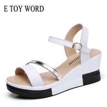 E TOY WORD Women Shoes Summer flat Sandals Ladies Wedge Platform Genuine Leather High heels Strap 7cm