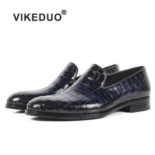 все цены на Vikeduo 2019 Custom Genuine Leather Shoe Fashion Casual Style Party Crocodile Skin Designer Blue Loafers Shoes Men's Patina Shoe онлайн