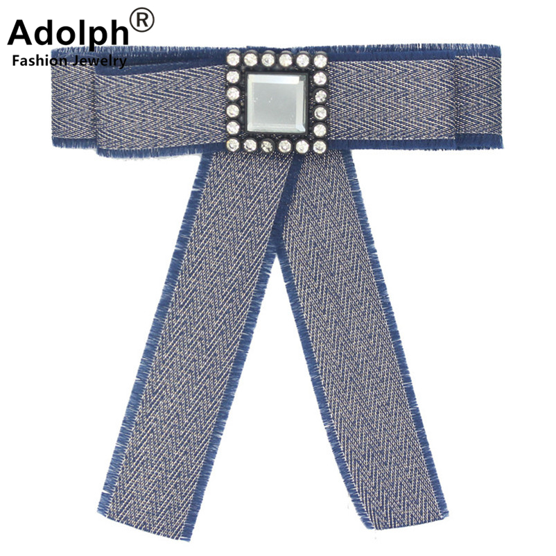 ADOLPH Star Fabric Bow Crystal Square Brooch Pins Woman Jewelry Clothers Dress Bride Broochs Fashion Accessories Female Extendy