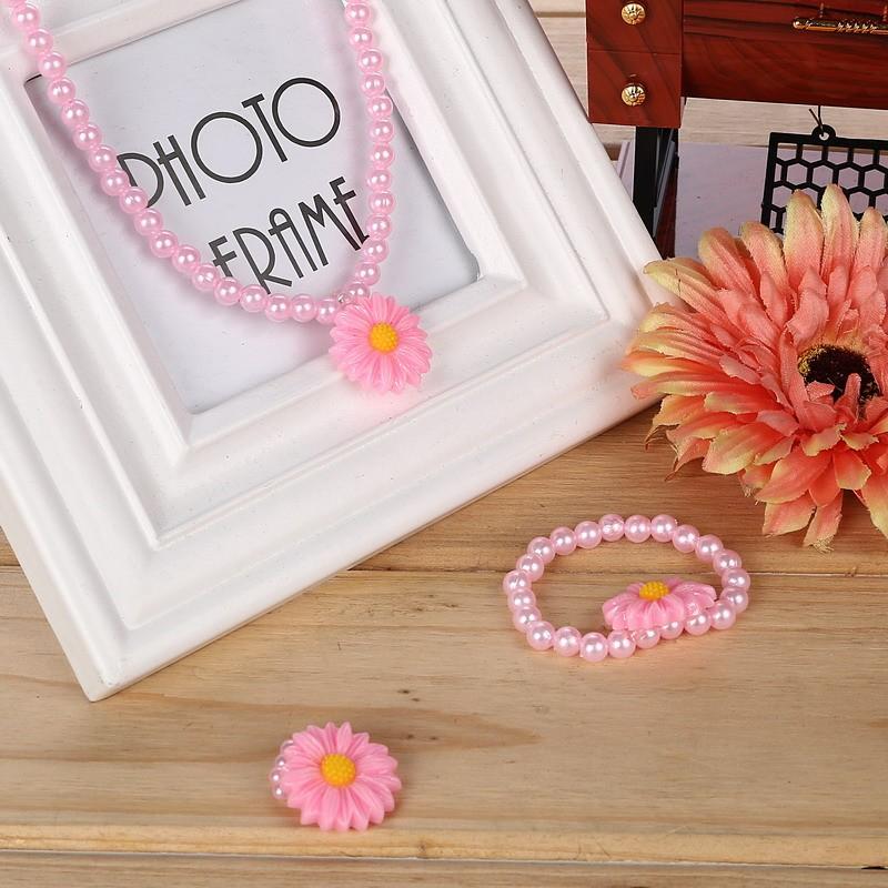 Friendly Resin Infant Nice Baby Flower Necklace Bracelet Finger Ring Set Kids Jewelry Set Children Accessories Handmade 2