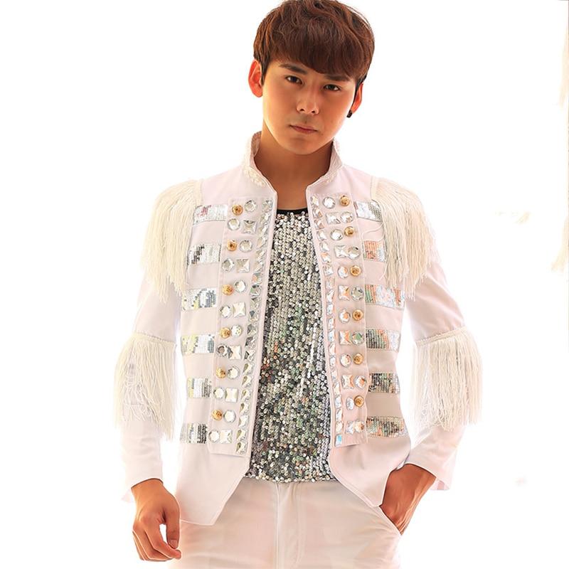 Jazz Dance Costumes Men Stand Collar White Tassel Diamond Sequins Jacket Male Singer Dancer Club Performance Coat Clothing DT797