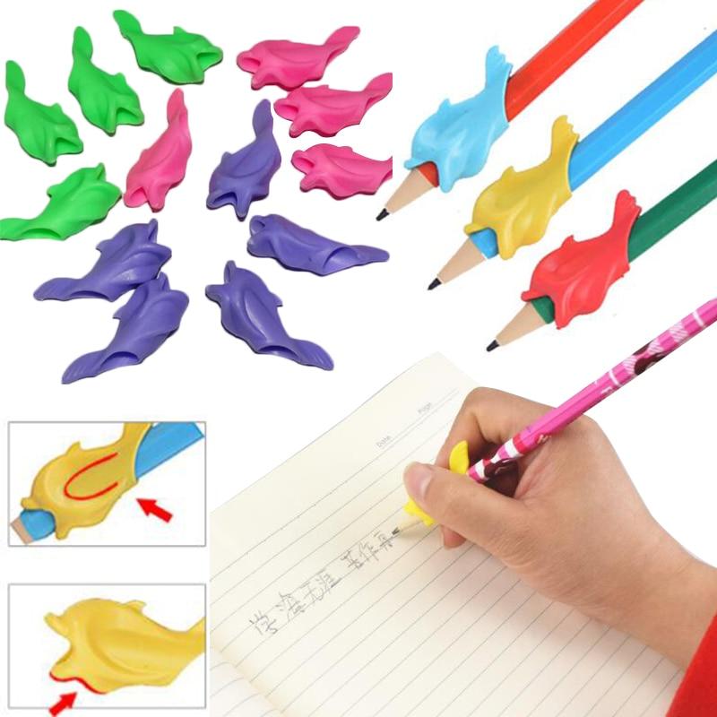 10pcs/set Kawaii Pen Pencil Grip Holder Writing Posture Corrector Random Color For Correct Children's Writing Posture #2