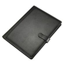 Carpeta de cuero A4 maletín Carpeta de conferencia negro