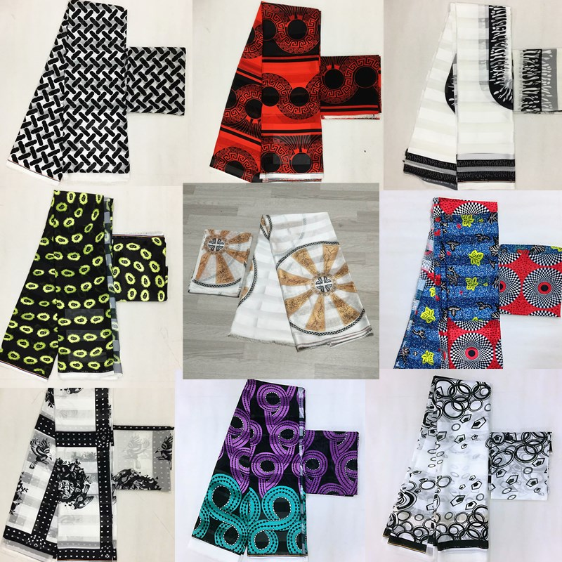 Hot sale Gahna Style satin silk fabric with organza ribbon African wax design J52602