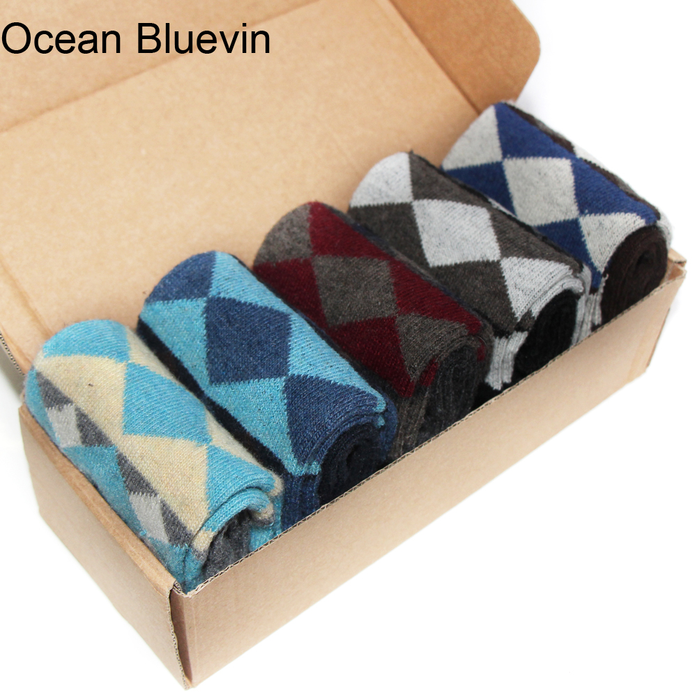 1 Pair Rabbit Wool Mens Socks New Autumn Winter Warm Thick Multi Rhombus Prints Design Quality Soft Durable Business Casual Sock