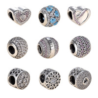 100 Authentic 925 Sterling Silver Dazzling Clear CZ Charm Beads Fit Original Pandora Charm Bracelet Pendants