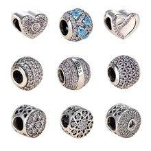 57687c6fb 100% Authentic 925 Sterling Silver Dazzling Clear CZ Charm Beads Fit  Original Pandora Charm Bracelet