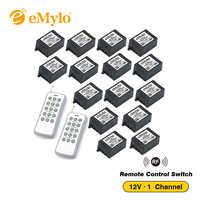 Emylo dc 12ボルトrf 433 mhzスマートワイヤレスリモート制御光スイッチリレー2xホワイト&グレートランスミッタ15x 1チャンネルレシーバーリレー