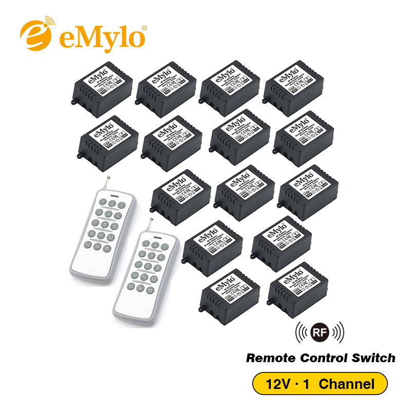 eMylo DC 12V RF 433Mhz Smart Wireless Remote Control Light Switch Relay 2X White&Grey Transmitters 15X 1-Channel Receiver Relays emylo switch dc 12v smart wireless rf remote control light switch 433mhz black