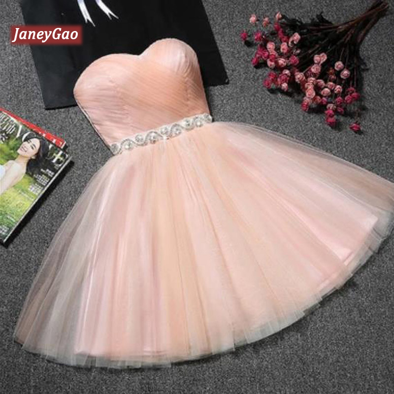 JaneyGao Prom Dresses Short For Women Formal Evening Party Gowns Blue Tulle Cute Elegant Fashion Design Dress Pink Red 9 Colors