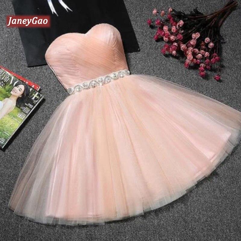 JaneyGao robes de bal courtes pour les femmes robes de soirée formelles bleu Tulle mignon élégant mode Design robe rose rouge 9 couleurs