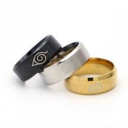 Acier inoxydable Naruto Logo anneau anneaux pour femmes en gros anneau hommes 8mm