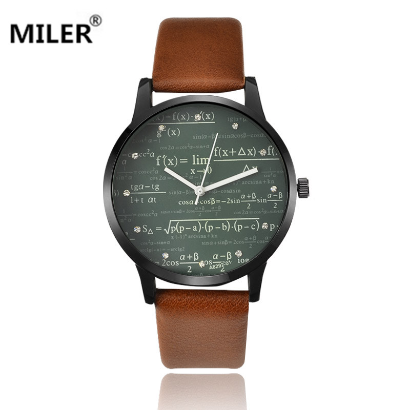 Miler watch special desgin Mathematical formula prints hot fashion men's leather needle length high quality quartz wristwatch