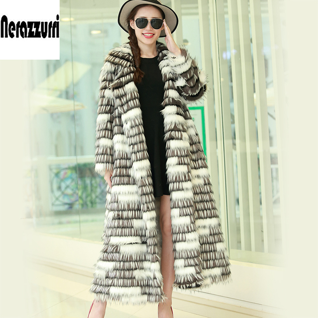 Nerazzurri New 2017 Winter High-grade Faux Fox Fur Coat Leisure Women Long Sleeve Thick Warm Colored Shaggy Fur Coats Plus Size