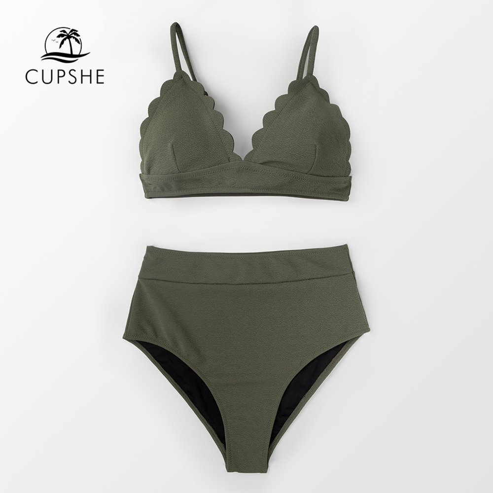 CUPSHE Olive Green High-Waist Bikini Sets Women Solid Two Pieces Swimsuits 2019 Girl Beach Bathing Suits Swimwear