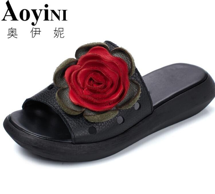 Floral Ajouré Plate Chaussures Plage En kaki 2018 forme Femmes D'été Noir Flip Sandales Flop Cuir Ethniques Pantoufles Coins q008R76Pw