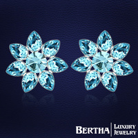 Romantic Fashion Luxury Exquisite Flower earrings Crystals from Swarovski Gift to Bridal lady ear jewelry