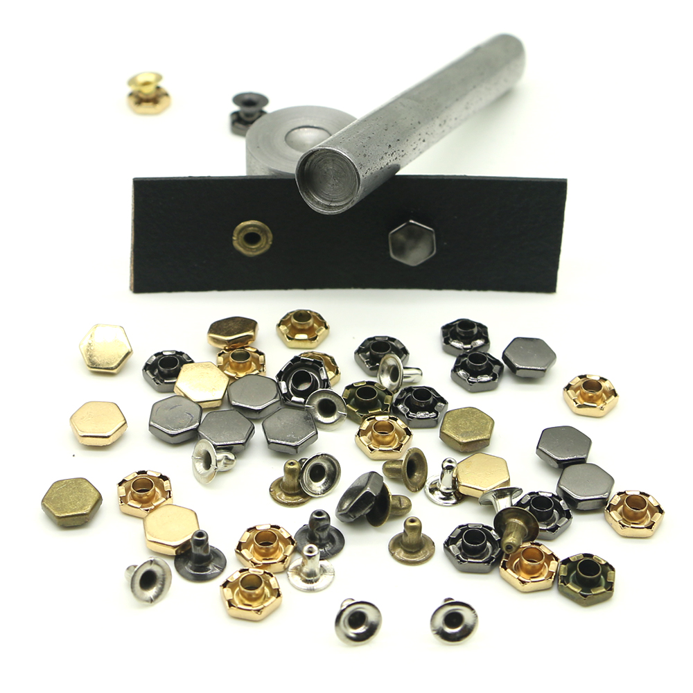 Hexagon 4 color nail kit, leather jacket, jeans, decorative buttons, 8mm rivet fittings D-03