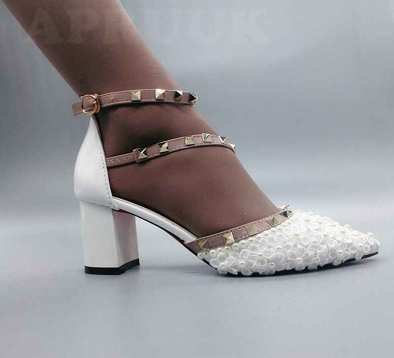 Summer wedding sandals shoes bride white lace pearls ankle straps point toes  block chunky heel bridal 68e1440b821c