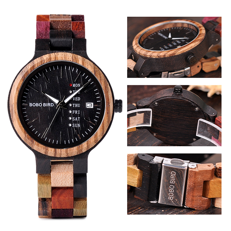 BOBO BIRD Luxury Design Auto Date Handmade Wooden Watch for Men 10