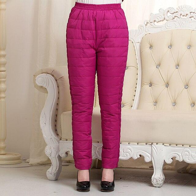 Женщина осень плюс размер Твердые Эластичный Высокой Талией Полная Длина Прямые толстые 100% вниз штаны женщина зима теплая вниз брюки