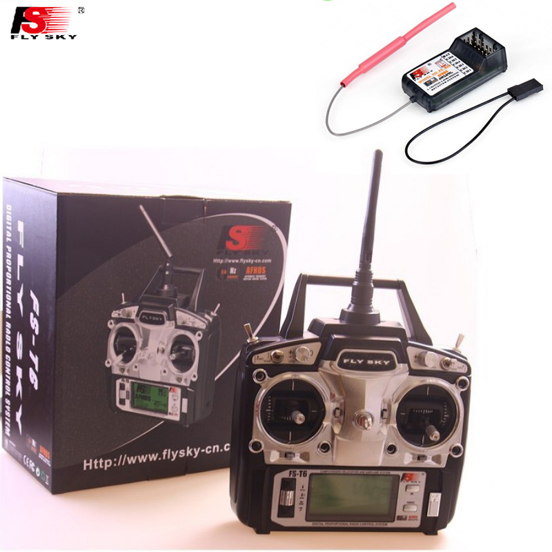 1pcs Original Flysky FS-T6 FS T6 6ch 2.4g w/ LCD Screen Transmitter + FS R6B Receiver RC Quadcopter Helicopter With LED Screen gartt flysky fs t6 fs t6 2 4g digital 6 channels transmitter