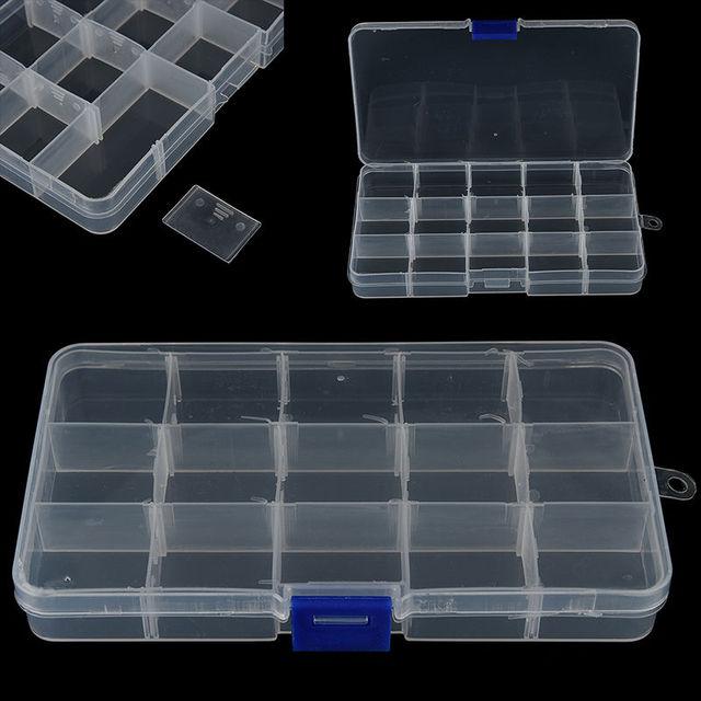 1Pc Plastic 15 Slots Adjustable Jewelry Storage Box Craft Organizer Beads Multifunctional Detachable 15 Grid Jewelry Storage Box