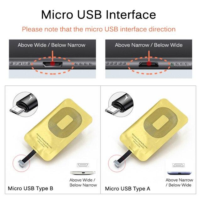 เครื่องรับสัญญาณไร้สาย Qi สำหรับ iPhone 7 6s Plus 5s Micro USB ประเภท C Fast Universal Wireless Charger สำหรับ Samsung Huawei Xiaomi 5