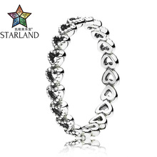 Starland Fine Detail Romantic Hollow out Heart to Heart 925 Silver Ring for Women Wedding Jewelry High Quality Dropship