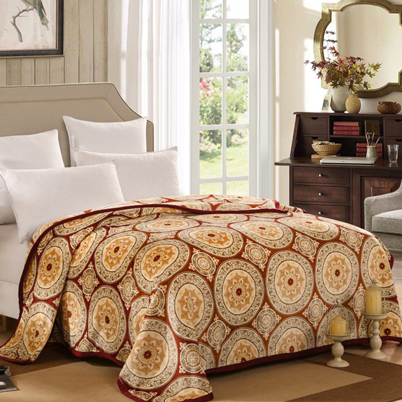 Retro Euro Style Warm Plush Soft Flannel Blanket Throws Twin/Full/Queen Size Bed/<font><b>Sofa</b></font>/Air Cover Sheet Ethnic Floral Medallion