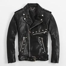 2017 черный Slim Fit с заклепками Кожаные куртки для мужчин Диагональ молния Slim Fit xxl мужские зимние кожаные мотоциклетные Пальто Бесплатная Доставка