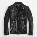 FREE SHIPPING 2017 New Slim Fit Rivet Leather Jackets For Men Black Turn-down Diagonal Zipper Real Sheepskin Motorcycle Coat