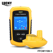 Lucky FFCW1108-1 wireless operation range 120 meters  Potable sonar sensor deeper Fish Finder color lcd display for fishing