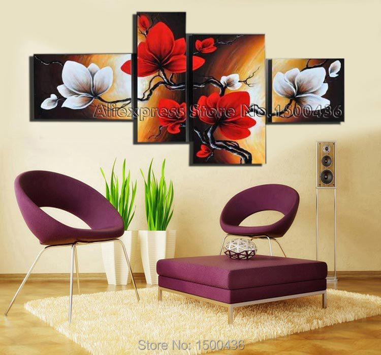 Hand Painted Abstract Painting Oil Pictures Canvas Orchid Flower 4 Piece Modern Home House Decoration Wall Art Set In Calligraphy From