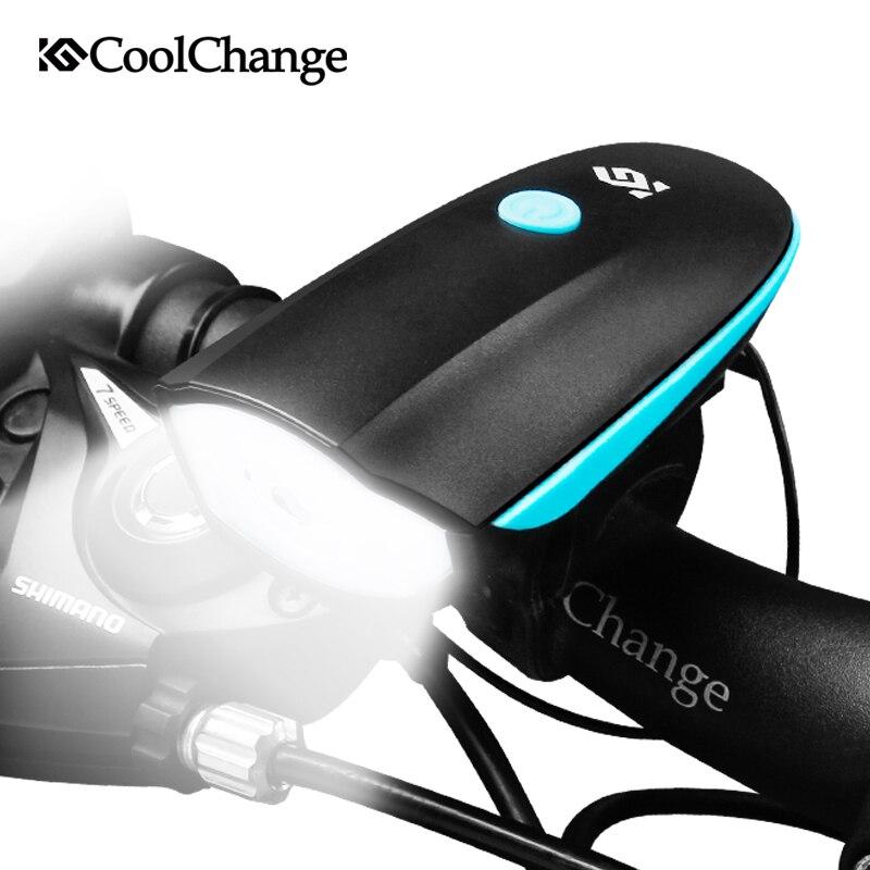 CoolChange Campanelli da bicicletta USB di Ricarica Bici Luce del Corno Del Faro Ciclismo Multifunzione Ultra Luminoso Elettrico 140 db Corno Campana Della Bici