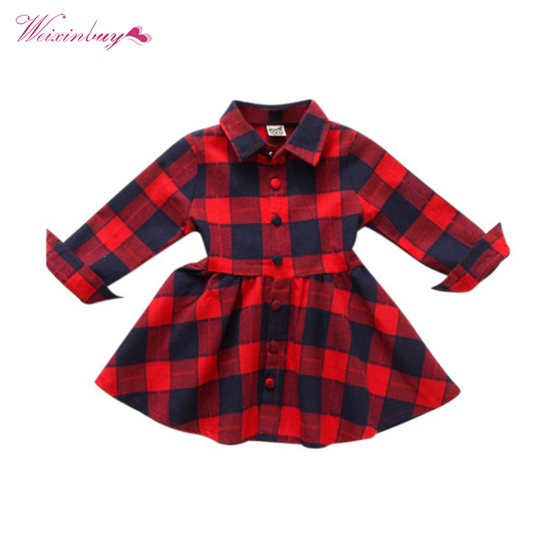Girl Dresses Long Sleeve Cute Winter Autumn Plaid Children Clothing Kids Girls Dress Kids Clothes