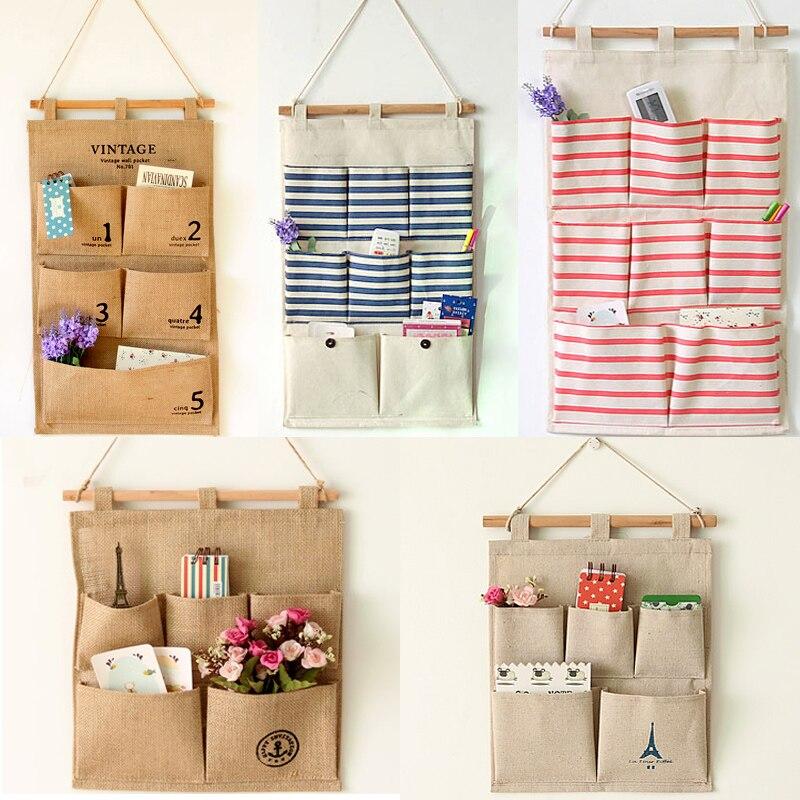 €9.09 |Sacs muraux multicouches divers sacs de rangement suspendus sac  porte et salle de bain sac de rangement mural en coton et lin sacs  suspendus-in ...