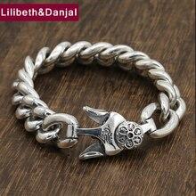 25591fd315d8 Par de pulsera 100% pulsera de plata de ley 925 joyería de plata de las mujeres  de los hombres Buda Sutra del Corazón Mantra bra.