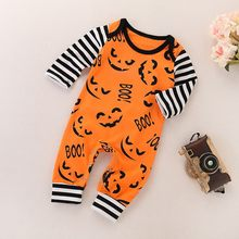 2018 Hot Halloween Orange Pumpkin Face Halloween Toddler Baby Boy Girls Letter Print Cartoon Romper Jumpsuit Clothes(China)