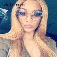 Cat Eye Fashion Clear Eyeglasses Eyewear Transparent Lens Brand Designer Women Mirror Sunglasses Vintage Lady Sun