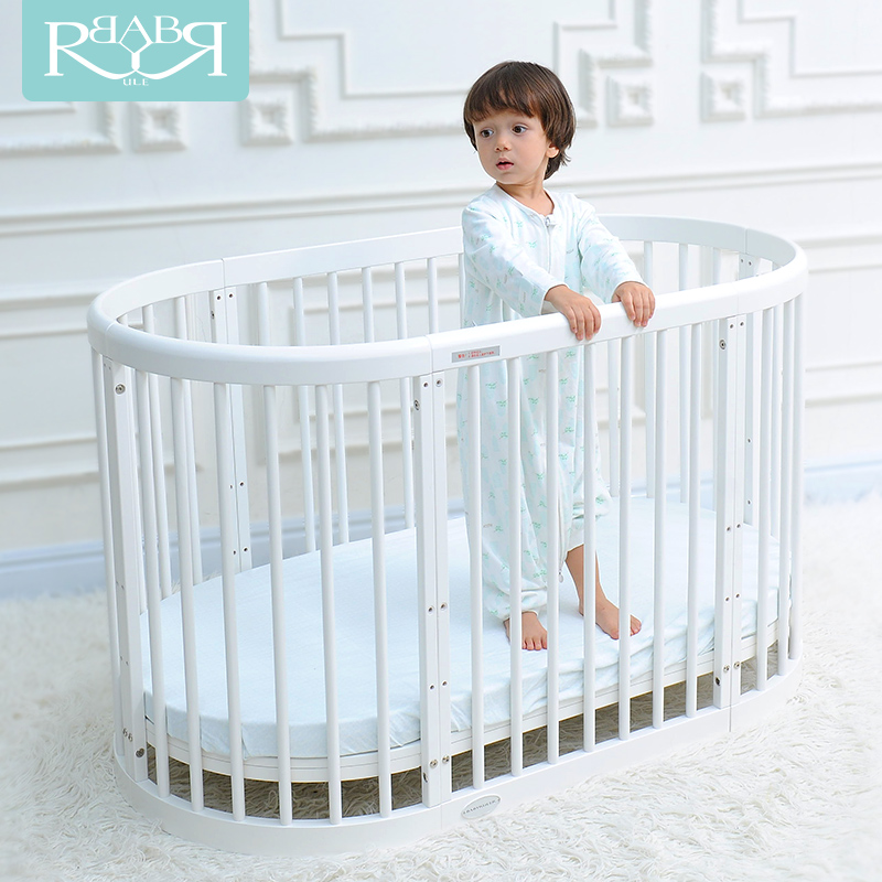 BABYRULER Cribs European-style multi-function baby bed twins game bed Solid wood round bed Environmental variable desk