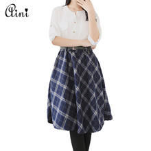 Women's Plaid Skirts Tartan Woolen Plaid Skirts Kilt Winter Wool Umbrella A-line Vintage Plaid Skirt Pleated Wool Tartan Skirts