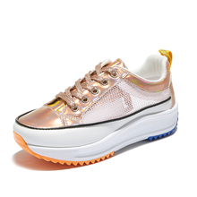 4cm Platform Sneakers Women Fashion Breathable Casual Shoes Summer Lace Up Chunky Sneaker Woman Gold Silver Creepers XZ170