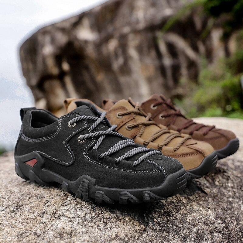 Doré Jeune homme Bottes Tactiques En Cuir Véritable Hommes Chaussures De Plein Air Sneaker Respirant Chaussures de Randonnée Montagne Homme Bottes De Chasse - 5